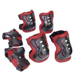 Kid-Vlo-Roller-Skating-Genouillres-Coudires-poignet-de-protection-Noir-et-Rouge-0