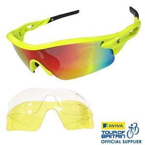 VeloChampion-Lunettes-de-soleil-Warp-VeloChampion-pour-la-course-ou-le-vlo-avec-3-paires-de-verres-y-compris-Revo-orange-jaune-et-transparents-Monture-Fluro-Jaune-avec-pont-de-nez-et-extrmits-des-bran-0