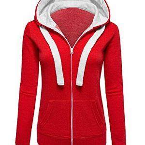 Mesdames-Plaine-Sweat–Capuche-Femmes-Zip-Haut-Veste-Hoodies-Sweat-shirt-0