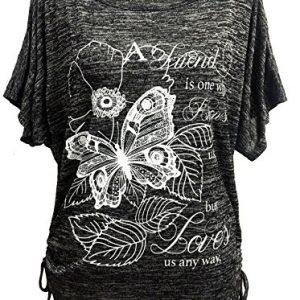 Emma-Giovanni-T-shirt-Papillons-Manche-Courte-Femme-0