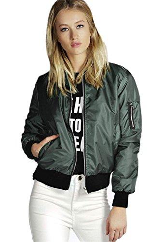 énorme réduction 7d057 4b59d Minetom Femme Hiver Classique pilote MA1 Bomber Matelassé Veste courte  Manteau Zip Coat Up Biker Jacket