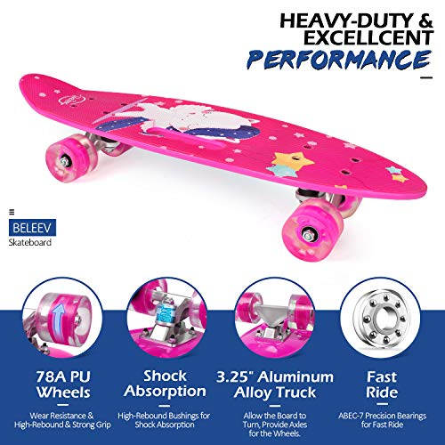 """Beleev Cruiser Skateboard 27/""""x8/"""" Complete Skateboard Pour Enfants Adolescents et adultes"""